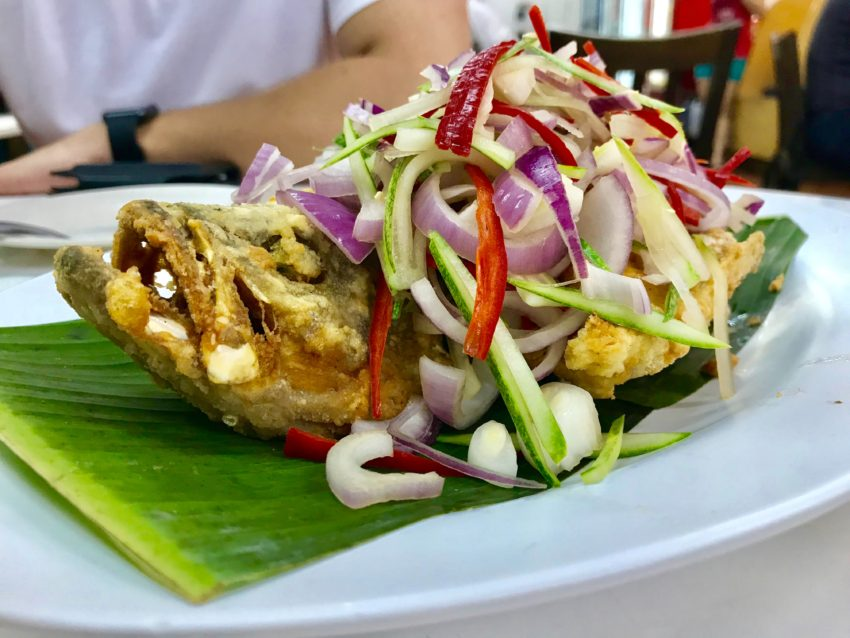 cooking fish in banana leaves